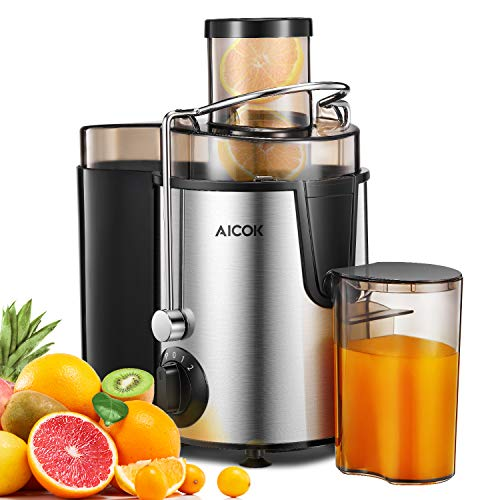 Juicer Machine Aicok Juicer Whole Fruit and Vegetable Easy Clean, 3 Speed Juicer Extractor with Pulse Function, Non-Slip Feet, Stainless Steel and BPA Free