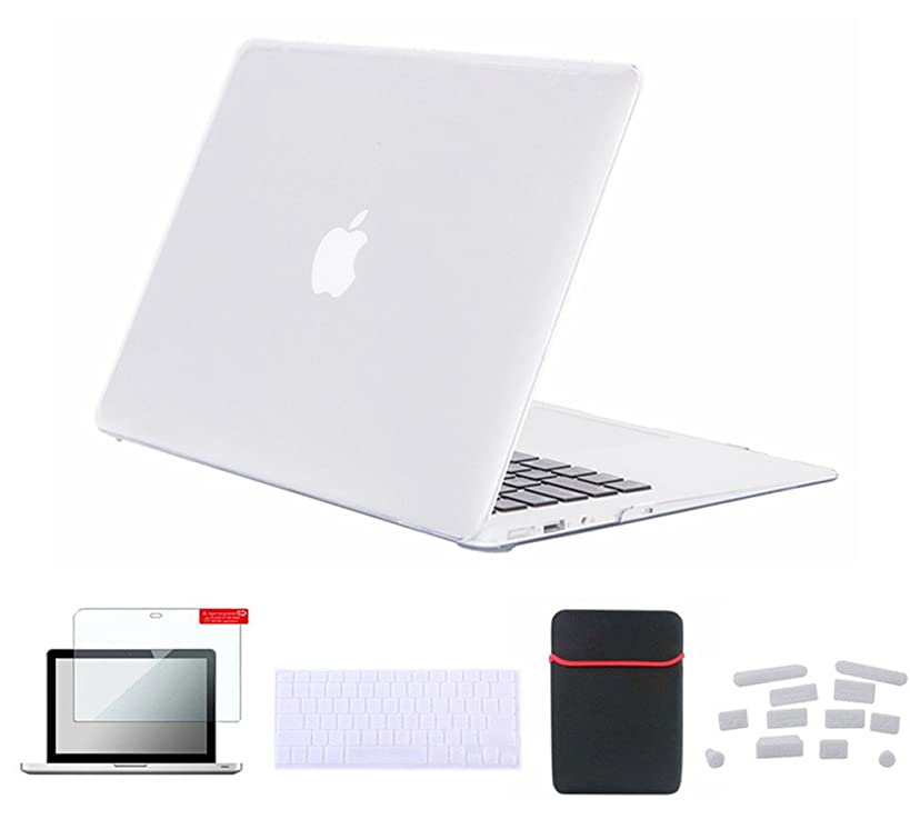 Se7enline Clear MacBook Pro 15 inch Case Crystal Soft-Touch Hard Cover for MacBook Pro 15 inch A1398 with Retina display with Sleeve Bag, Keyboard Cover Skin, Screen Protector, Dust plug, Transparent