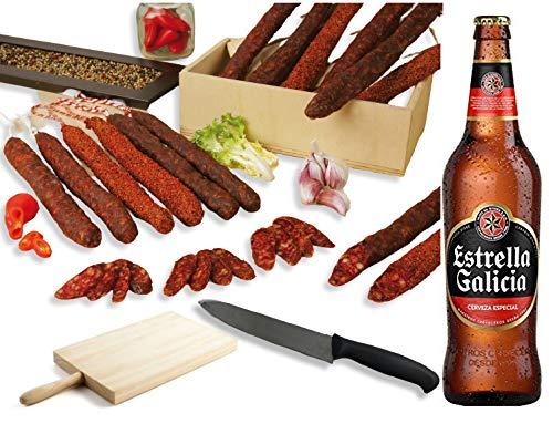 Pack FUET y CHORIZO + CERVEZA. Lote de 2 Fuets y 2 Chorizos BonBouquet + Estrella Galicia 6 ud. x 66 cl. + Tabla + Cuchillo de Corte