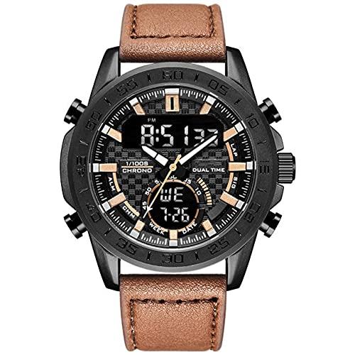 WNGJ Mira el Reloj de Cuarzo Impermeable de Cuero Genuino Hombres, Reloj de Moda, Moda Especial de Moda Multifuncional, Estilo Negro, la Mejor Coffee