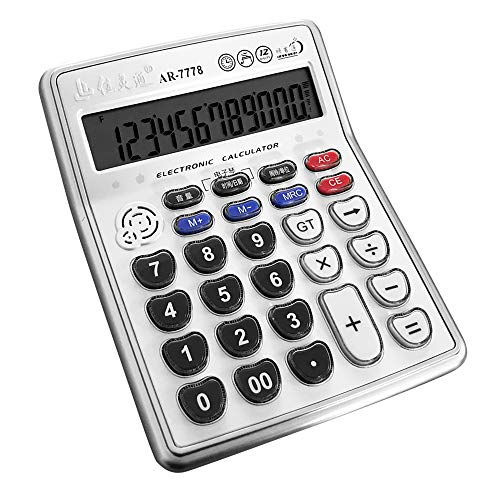 VISUO BEST Musical Function Electronic Calculator AR-7778 Portable 12-Digits LCD Display Calculator with Alarm Clock and Mini Instrument Desktop, Can Play Piano Senbon Zakura (Without Battery)