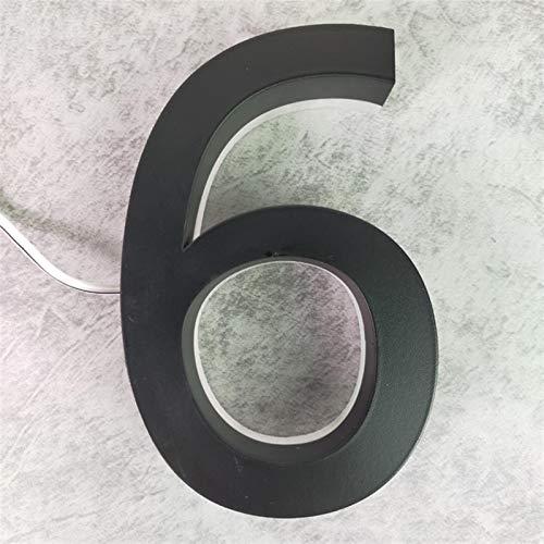 Aojing LHjin-números de casa, Metal 3D Led Modern House Número, Placa Home Hotel Puerta Lettre Signo, Negro Color de luz Blanca Inoxidable al Aire Libre, Decorar (Color : 6, Size : 250mm 10in)