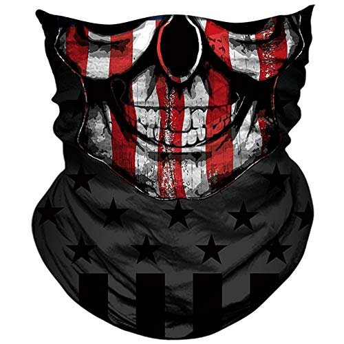 AXBXCX 3D Skull Skeleton Neck Gaiter Face Mask for Motorbike Motorcycle Cycling Riding Hiking Hunting Fishing Skateboard Powersports Halloween Party Music Festivals Raves Face Mask PL180822