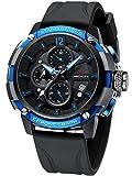 MEGALITH Reloj Militar Hombre Deportivo Relojes Grandes Hombre Cronografo Negro Impermeable Analogico Reloj de Pulsera Caucho Cuarzo Fecha Luminosa - Azul
