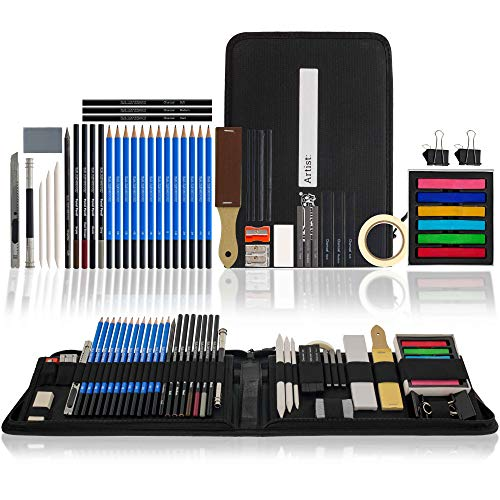 U.S. Art Supply 50-Piece Drawing & Sketching Art Set - Ultimate Complete Artist Kit, Graphite and Charcoal Pencils & Sticks, Pastels, Blend Stumps, Erasers - Zippered Pop-Up Carry Case, Kids, Students