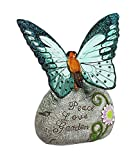 New Creative Solar Garden Stone, Charming Peace Love Garden'' Butterfly Design 5.5 x 7 x 3.35