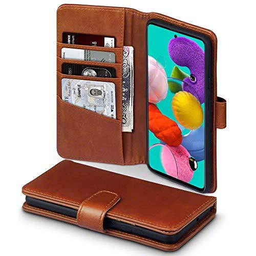 TERRAPIN, Kompatibel mit Samsung Galaxy A51 Hülle, [ECHT Leder] Brieftasche Case Tasche mit Standfunktion Kartenfächer und Bargeld - Cognac