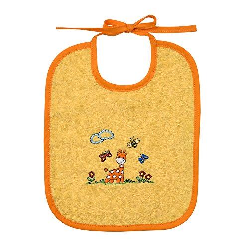 Wörner Südfrottier Mädchen Baby Kleinkind Giraffe gelb Gr. 74-116 Schlafanzug 2tlg Shorty Lätzchen Kapuzen-Badetuch Waschhandschuh Badeponcho Bademantel (Binde-Lätzchen 25x30cm)