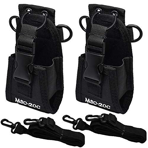 DECARETA 2 Stück Multifunktions-Tasche Funkgerät Tasche Nylon Pouch Case Schwarz Funktasche Holder mit Verstellbarem Riemen for GPS Phone Handy Two Way Radio Walkie Talkie Funkgerät