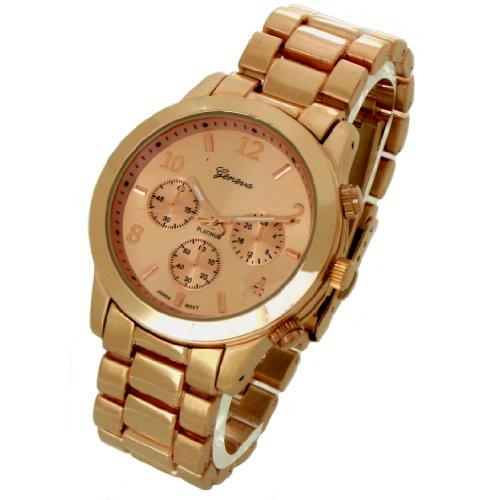 Geneva Platinum ceramic-style Rose Gold Dial reloj gp9245