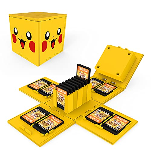 dainslef Pokemon Pikachu Game Case for Switch,Foldable Game Card Case for Nintendo Switch, Nintendo Switch Game Card Case with 16 Card Slots,Nintendo Switch Game Card Holder