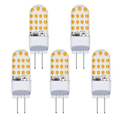 Bonlux 3.5W LED Glühbirne G6.35 GY6.35 Sockel AC/DC 12V Warmweiß 3000K 360 ° Abstrahlwinkel Ersetzen 35W Halogenlampe für Unterschrank Schreibtischlampe Beleuchtung Nicht Dimmbar (5-Stück)