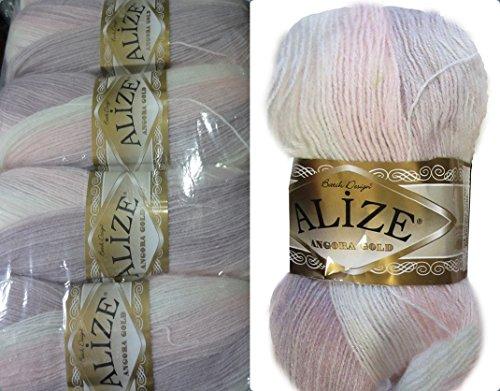 vari colori in totale 500 g effetto metallico Alize Angora Simli 5 gomitoli di lana con effetto brillante da 100 g in 20/% di lana con diverse sfumature di colore