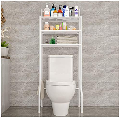 Gjfhome 3-Tier wc plank badkamer, ruimtebesparing over de wc plank organisator ruimte Saver opslag Display bad Essentials, plantenbakken, boeken (wit)