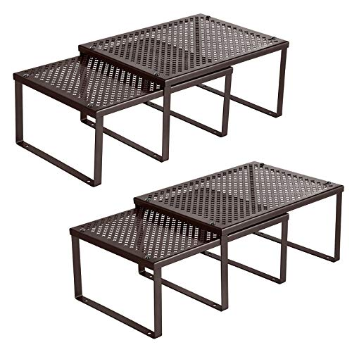 SONGMICS Cabinet Shelf Organizer, Stackable, Expandable, Set of 4 Metal Kitchen Counter Shelves, Brown UKCS06BR