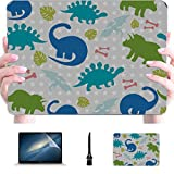 Accesorios Macbook 13 Pulgadas Bebé Dinosaurio Cute Cartoon Plastic Hard Shell Compatible Mac Macbook Accesorios Accesorios de protección para Macbook con Alfombrilla de ratón