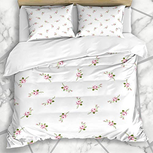 Jojun Duvet Cover Sets Blue Small Floral Pattern Little Flowers Pink Rose Nature Ditsy Liberty Painting Design Retro Microfiber Bedding with 2 Pillow Shams Easy Care Anti-Allergic Soft Smooth