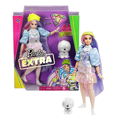Barbie Extra Bambola con Capelli Viola, Cucciolo, Vestiti alla Moda e 10 Accessori, Giocattolo per Bambini 3+ Anni, GVR05