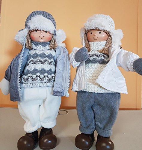 Pupazzo Bambola Bambina Ragazza in piedi con giubbotto e cappello da 33 cm DECORAZIONE NATALE