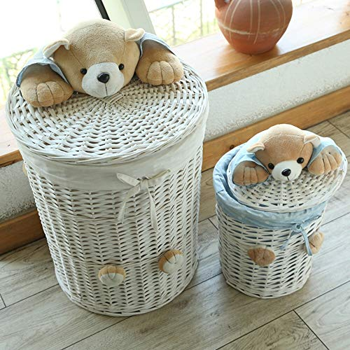 feiren Cestas de mimbre tejidas redondas para la colada, cesta de almacenamiento con tapa de cabeza de oso pequeña cesta grande para ropa panier (color: 1 juego de forro blanco)