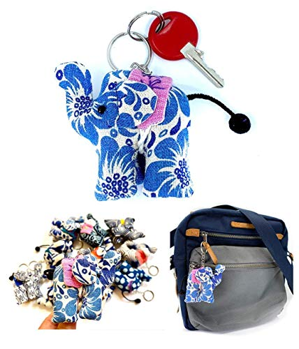 (Pack of 4) UPCYCLE Handmade Fabric Keychain ANIMAL Charm Key Rings Holder Bag Accessories Handmade Gift! so CUTE RANDOM BLUE Pattern - Elephant Natural Cotton Blue Indigo.