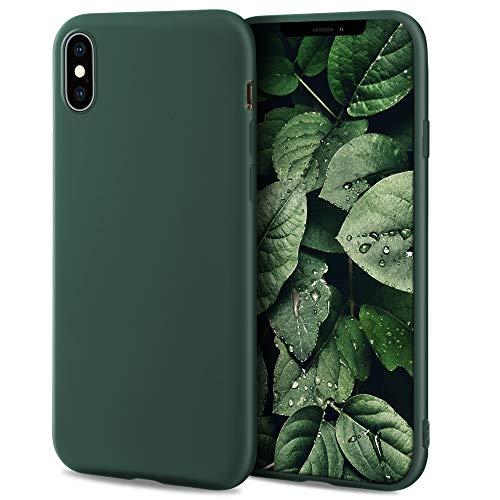 Moozy Minimalist Series Funda Silicona para iPhone X y iPhone XS, Verde Oscuro con Acabado Mate, Cover Carcasa de TPU Suave y Fina