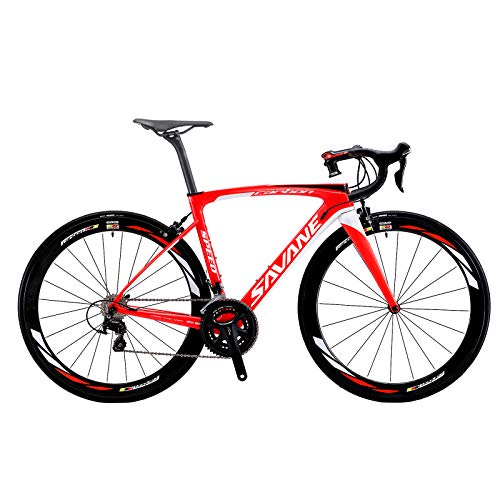 Vélos de Route Carbone, SAVA 700C Velo de Course Homme 22 Vitesses Shimano 105 5800 Group et Selle fizik Route (Rouge&Blanc, 440)