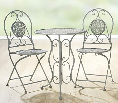 Soma metalen tafel/stoelblad design (BxHxD) 0 x 0 x 0 cm grijs 2 x stoelen 1 x tafel