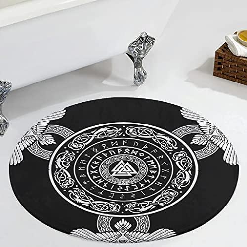 Veryday Alfombra redonda de runas vikingas, cuervo redondo, para dormitorio, alfombra como puerta, felpudo para habitación de los niños, pasillo, color blanco, 60 cm