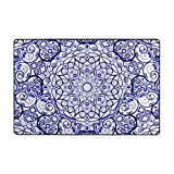 Mandala Pattern Indoor Door Mat and Extra Anti-Slip Gripper Pad,Non-Slip Absorbent Doormat Inside Floor Mats Area Rug for Entryway,Machine Washable Shoe Mat Entrance Rug Outdoor