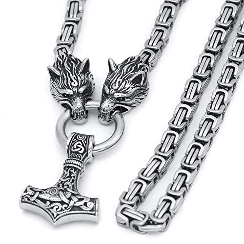 HLARK Collar Vikingo con Colgante del Martillo de Thor Mjolnir Mitología Nórdica Amuleto, Collar para Hombre con Cadena de 65cm