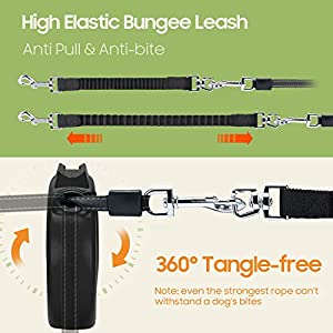 Happy & Polly Dog Leash Retractable Heavy Duty 16.4 ft Strong Nylon Tape Dog Walking Leash with Flashlight Detachable/Protective Bungee Leash/One-Handed Brake Pause Lock