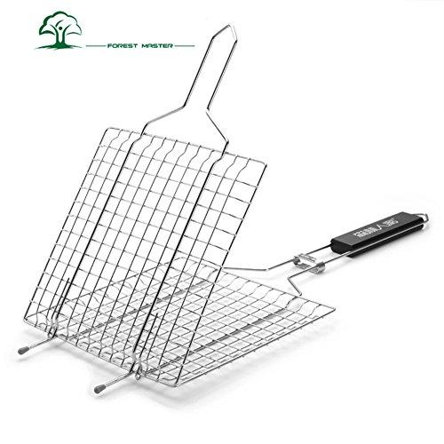 Eleoption 炭焼一番合わせ魚焼きバーベキュー 網 魚 焼き網 焼肉 焼き鳥 アウトドア 軽量 合わせタイプ バーベキュー 串 ステンレス バーベキューコンロにも使用可能