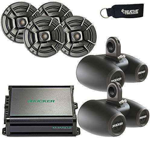 Polk Audio Marine Wake Tower Package with 4 DB652 6.5' Speakers, Dual Black Enclosures, Kicker...