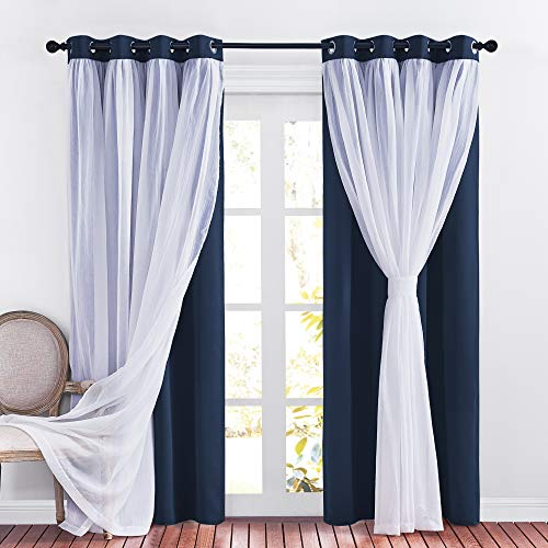 PONY DANCE Navy Blue Window Curtains - Double Layered Blackout Drapery White Crushed Sheers Light Blocking Panels Set for Living Room, 52 W x 84 L, Set of 2