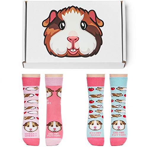 Petsy Lustige 2er Socken Box Set für Damen und Herren 35-38 - Baumwolle Bunt Motivsocken mit Spruch - Perfekt Verrückte Geschenke - Das Meerschweinchen
