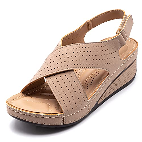 QQWD Sandalias Mujer Verano, Elegante Moda Peep Toe Cuña Zapatos Mujer Baratos...