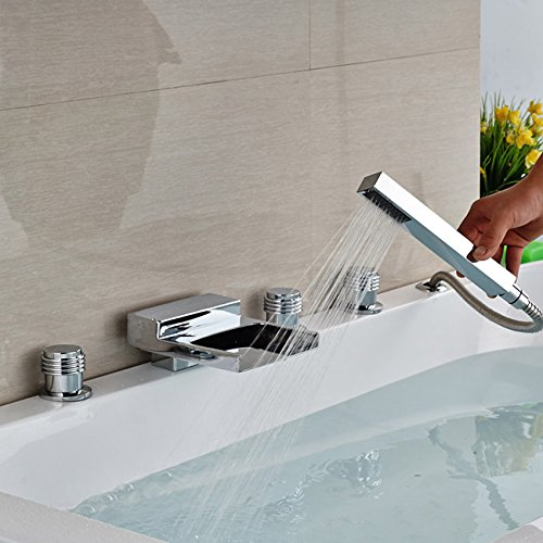 Luxurious shower Tablier d'une baignoire douche robinet cartouche céramique Set 3 5 poignée de main avec les trous de remplissage de cuve de douche multi,Finition chrome