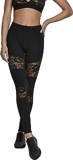 Urban Classics Damen Leggings Ladies Laces Inset Sportleggings, Fitnesss- und Yogahose mit floralen Spitzen-Einsätzen, Größen XS - 5XL