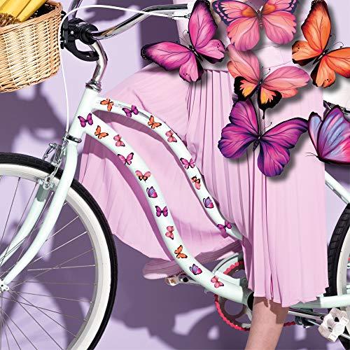 Wandtattoo Loft Fahrradaufkleber 34 STK. Rosa Pinke Schmetterlinge Fahrrad Sticker Fahrraddesign Kinderfahrrad