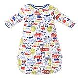 Saco de Dormir para bebé Mangas largas Invierno 2.5-3.5Tog Saco de Dormir de algodón 100% orgánico(M/tamaño del Cuerpo 70-80 cm)