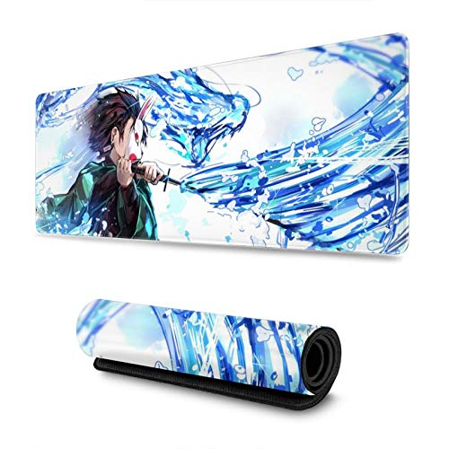 """Jinjie De_Mon Slayer Mouse Pad Kimetsu No Yaiba Anime Large Extended Gaming Mouse Pad Mat, Stitched Edges, Ultra Thick 3 Mm, Wide & Long Mousepad 31.5"""" X 11.8"""" X 0.12"""""""