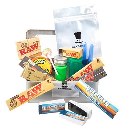 RAW Cigarette Smokers Rolling Gift Tin Box Set - Smoking Hamper Kit - Window Lid Tin Roller Storage Unit - (Medium) (RAWTHENTIC, Rolling Papers, Skins)