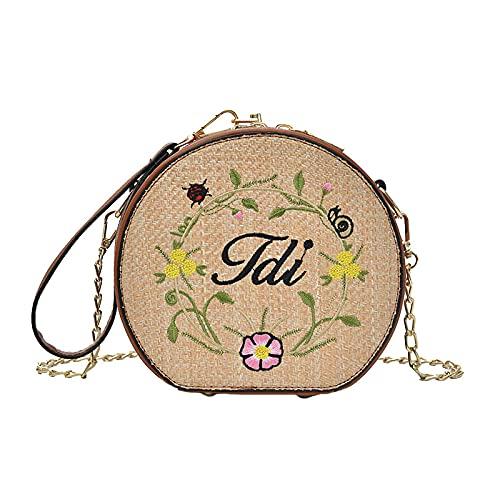 Bolso de mano de flores de verano para mujer, bolsos de paja con letras populares para la playa, bolso de hombro de punto para mujer de vacaciones, minicadenas, bolso de mano 16x17cm
