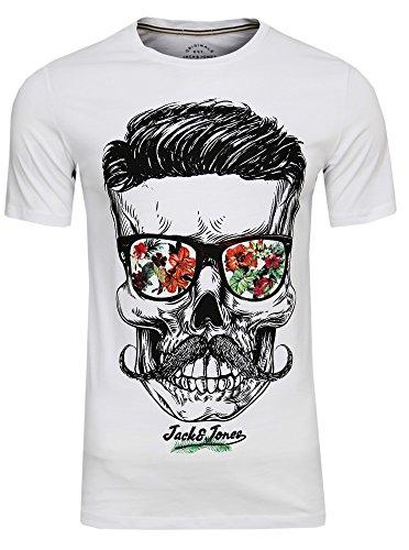 JACK & JONES Herren T-Shirt Festival Flower Support Tee Crew Neck Bart Skull Totenkopf Schädel Print Sonnenbrille,(White,XL)