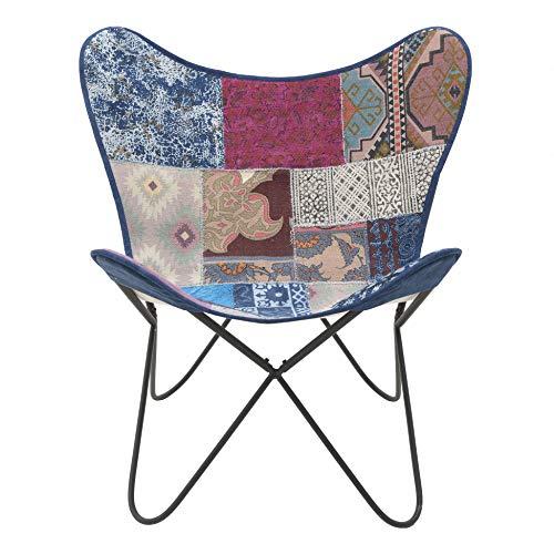 Inart - Silla de patchwork (65 x 74 x 85 cm), diseño de mariposas