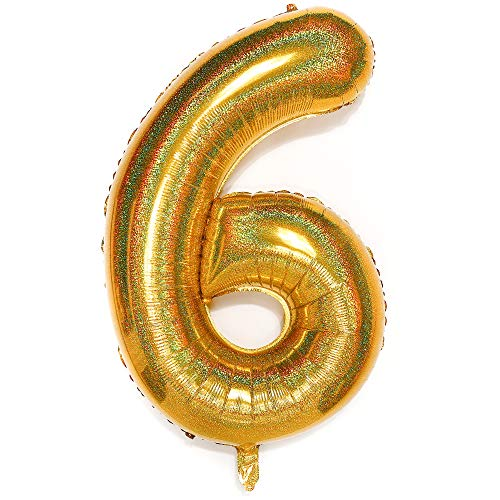 PartyWoo Zahlen Luftballon, Folienballon 6, 40 Zoll Riesen Luftballons, XXL Luftballon, Luftballons Geburtstag, Ballons Geburtstag, Geburtstagsdeko, Geburtstag Deko für Geburtstag (Gold)