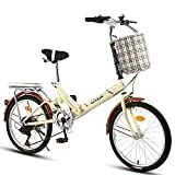 DODOBD Bicicleta Plegable Bikes, Bicicleta Plegable Cuadro Aluminio Ruedas, Bicicleta Retro de Ciudad para Trabajo Ligero con Luces Traseras y Canasta para Automóvil
