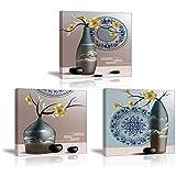 Cuadro Sobre Lienzo - Imagen Flor del Ciruelo en el Florero Retro - Impresión Pinturas Murales Decor Dibujo con Marco para Cuarto de Estudio Regalo de Navidad Cumpleaños 3x 30x30cm PIY Painting