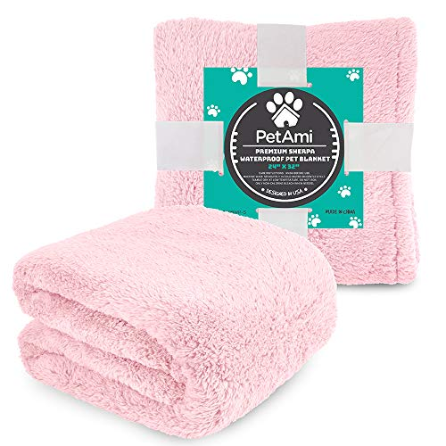 PetAmi Fluffy Waterproof Dog Blanket Fleece | Soft Warm Pet Fleece Throw for Small Dogs and Cats | Fuzzy Plush Sherpa Throw Furniture Protector Sofa Couch Bed (Pink Blush, 24x32)